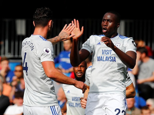 Sol Bamba celebrates his shock opener during the Premier League game between Chelsea and Cardiff City on September 15, 2018