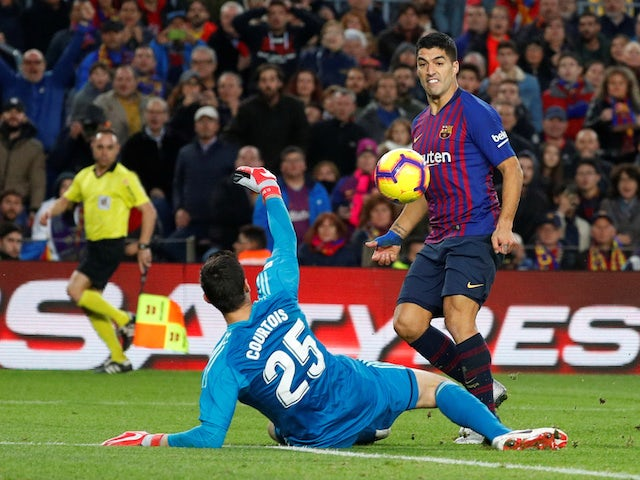 Barcelona striker Luis Suarez completes his hat-trick against Real Madrid in El Clasico on October 28, 2018