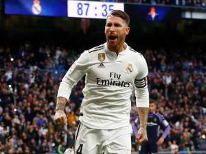 Sergio Ramos celebrates scoring from the spot during the La Liga game between Real Madrid and Real Valladolid on November 3, 2018