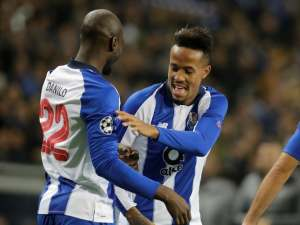 Porto centre-back Eder Militao celebrates after scoring in a Champions League game in November 2018
