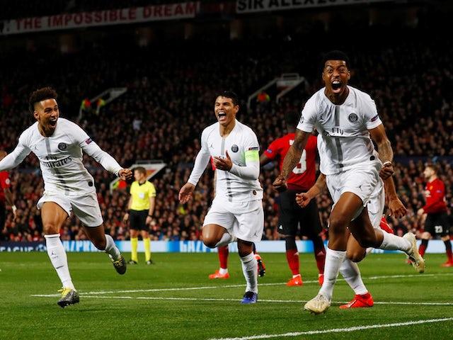 Paris Saint-Germain defender Presnel Kimpembe celebrates scoring the opener against Manchester United on February 12, 2019