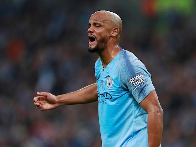 Manchester City defender Vincent Kompany in action during the EFL Cup final against Chelsea on February 24, 2019