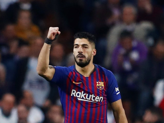 Barcelona's Luis Suarez celebrates scoring against Real Madrid in the Copa del Rey on February 27, 2019