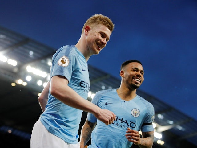 Manchester City midfielder Kevin De Bruyne celebrates scoring the opening goal against Cardiff on April 3, 2019