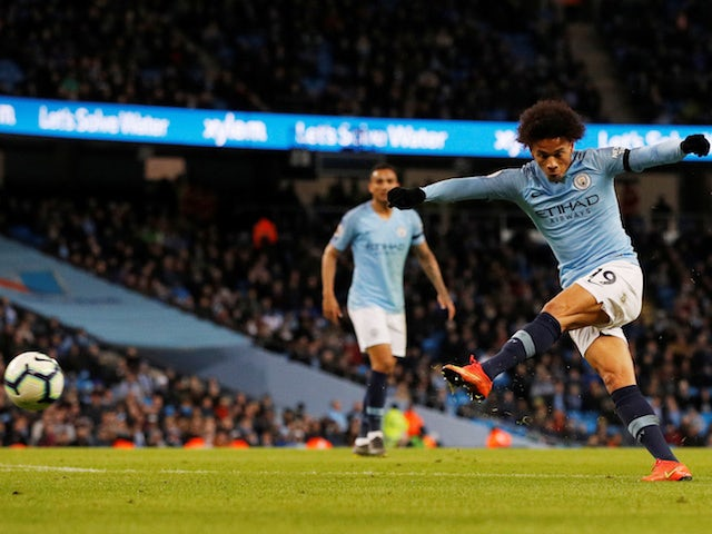 Manchester City winger Leroy Sane scores against Cardiff on April 3, 2019