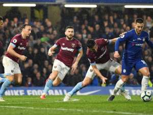 West Ham United try - and fail - to take the ball off Chelsea's Eden Hazard on April 8, 2019
