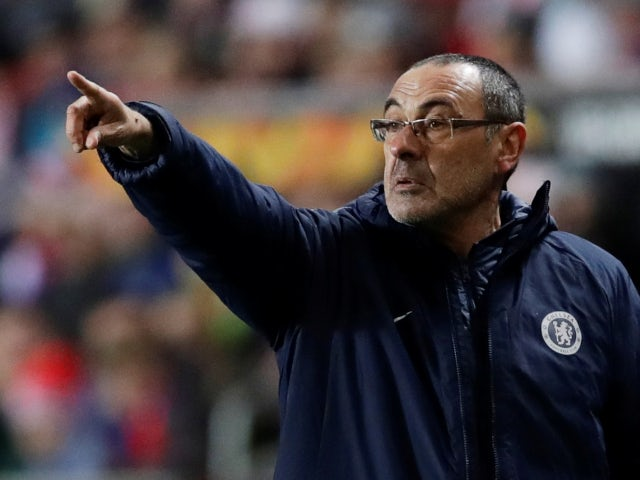 Chelsea's Maurizio Sarri on the touchline against Slavia Prague in the Europa League on April 11, 2019.
