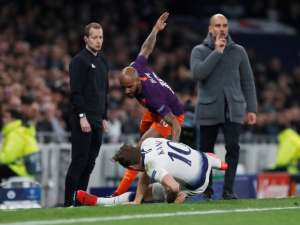 Tottenham Hotspur's Harry Kane suffers ankle injury in challenge with Manchester City's Fabian Delph in the Champions League on April 9, 2019.