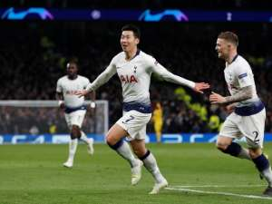 Son Heung-min celebrates scoring for Tottenham Hotspur against Manchester City in the Champions League on April 9, 2019.
