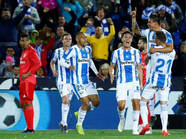 Jonathan Silva celebrates opening the scoring for Leganes in their La Liga clash with Real Madrid on April 15, 2019