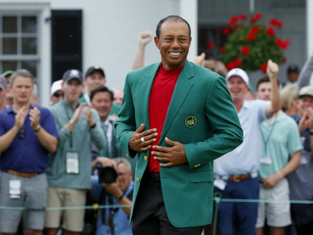 Tiger Woods wearing the green jacket after winning The Masters in April, 2019.