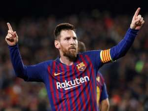 Barcelona GOAT Lionel Messi celebrates after scoring during the Champions League semi-final against Liverpool on May 1, 2019