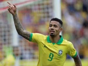 Gabriel Jesus celebrates scoring for Brazil against Honduras on June 9, 2019