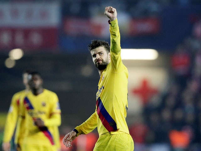 Gerard Pique in action for Barcelona on October 23, 2019
