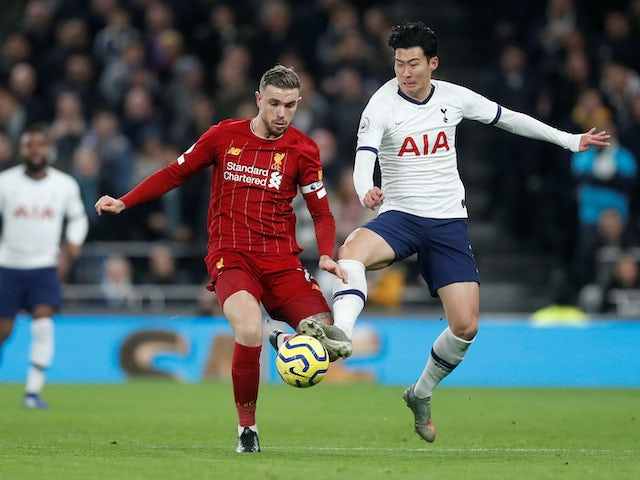 Jordan Henderson and Son Heung-min in action during the Premier League game between Tottenham Hotspur and Liverpool on January 11, 2020