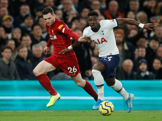 Andy Robertson and Serge Aurier in action during the Premier League game between Tottenham Hotspur and Liverpool on January 11, 2020