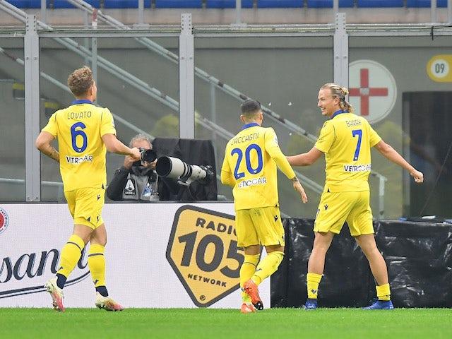 Hellas Verona's Antonin Barak celebrates scoring against AC Milan on November 8, 2020