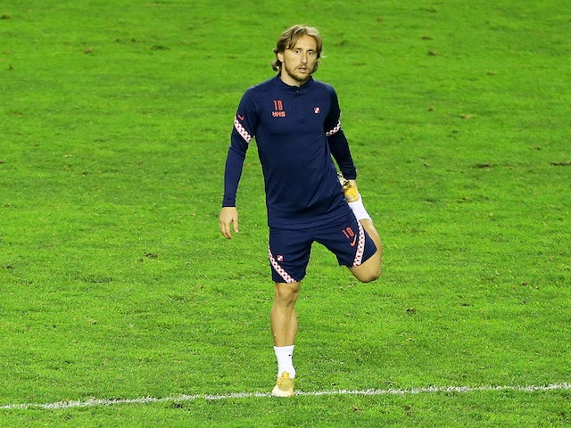 Croatia and Real Madrid midfielder Luka Modric pictured in training for his national side on November 16, 2020