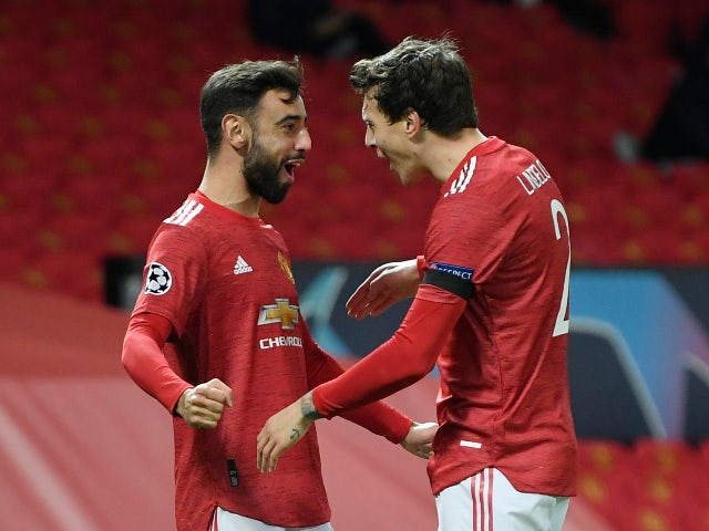 Bruno Fernandes celebrates scoring for Manchester United against Istanbul Basaksehir in the Champions League on November 24, 2020