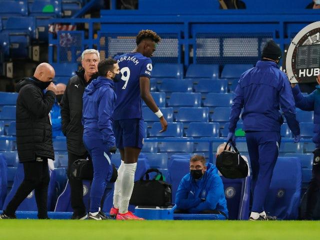 Chelsea's Tammy Abraham goes off injured against Newcastle United on February 15, 2021