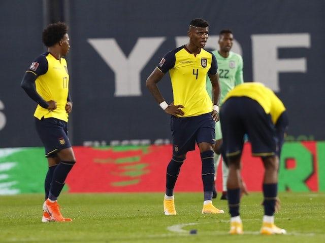 Ecuador's Robert Arboleda with teammates look dejected after the match on October 9, 2020