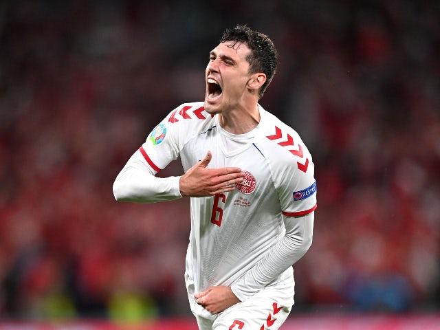Andreas Christensen celebrates scoring for Denmark against Russia at Euro 2020 on June 21, 2021