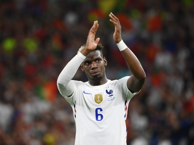 France's Paul Pogba applauds fans after the Euro 2020 match with Portugal on June 23, 2021