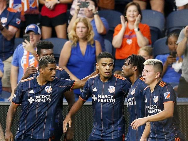 FC Cincinnati celebrates a goal late in the first half against Orlando City SC at TQL Stadium on August 7, 2021