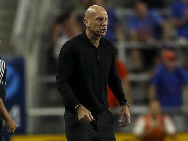 FC Cincinnati head coach Jaap Stam calls to his team in the second half against Orlando City SC at TQL Stadium on August 7, 2021