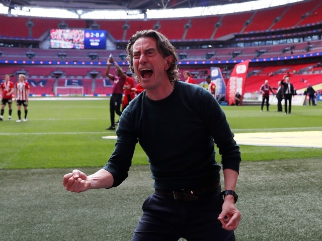 Brentford manager Thomas Frank celebrates after winning Championship Play-Off Final pictured May 29, 2021