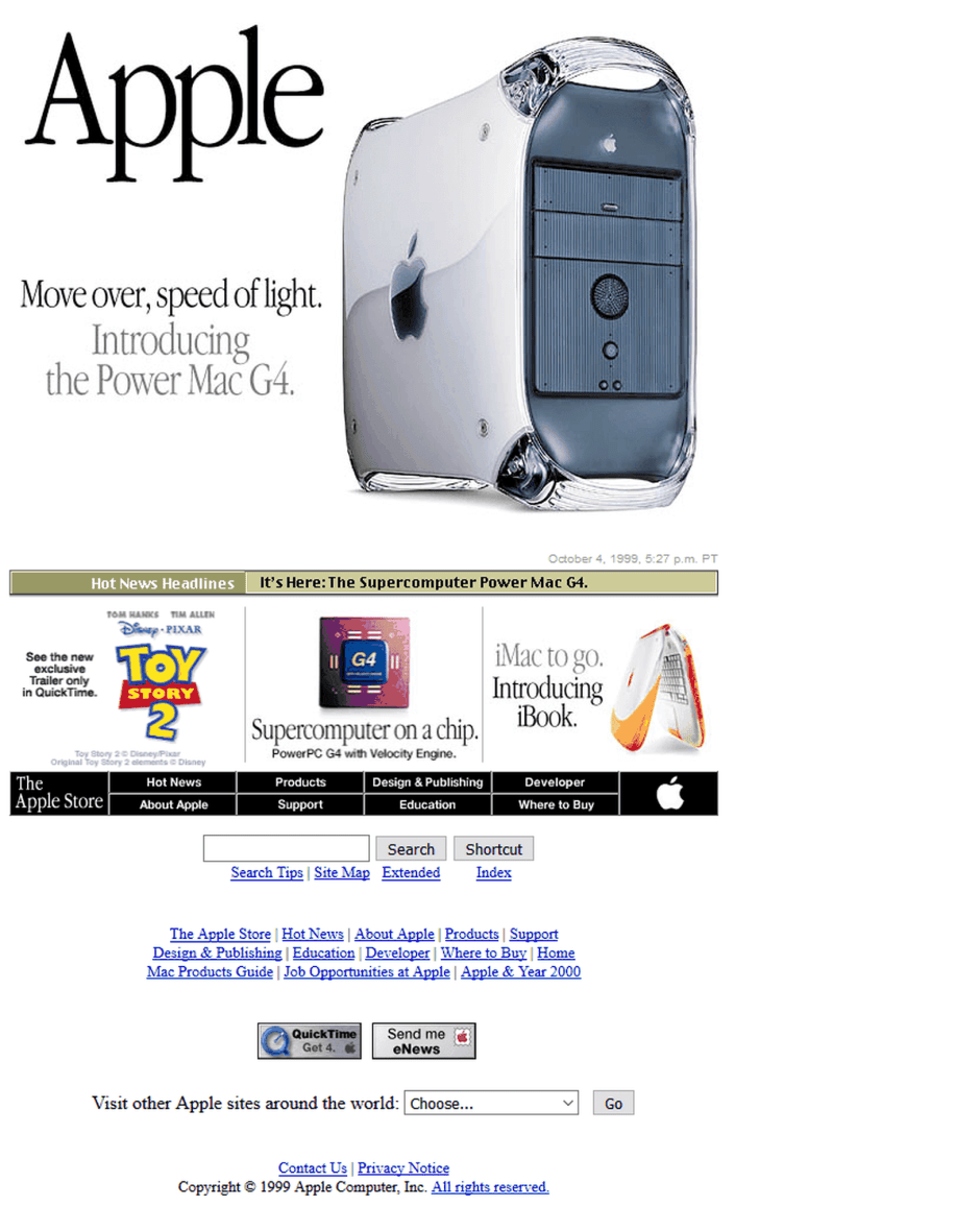 """In 1999, Apple had a """"Hot News Headlines"""" section on its homepage. Now its homepage is all bold colors and feels like the spirit of Helvetica. tech news, gadgets, review of product"""