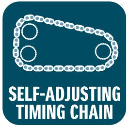 Selvjusterende taktkæde anvendes i stedet for tandrem og minimerer serviceomkostninger