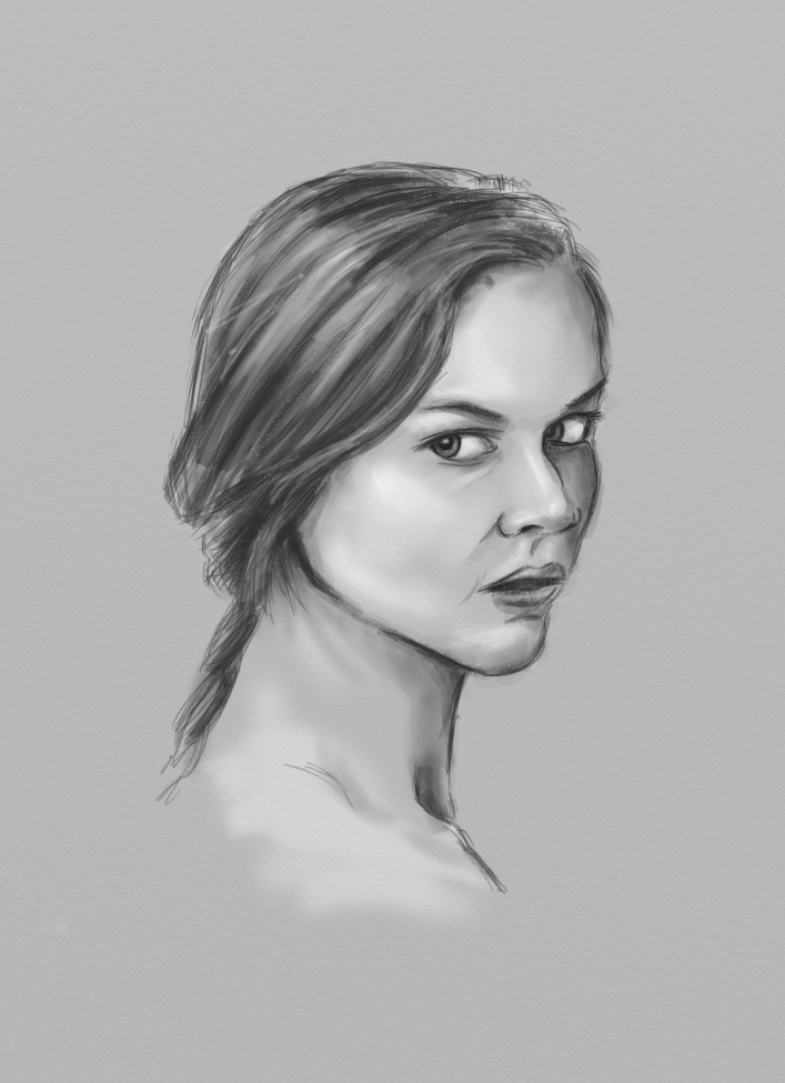 Black and white sketch in Artrage
