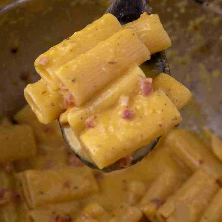 Close up of pasta carbonara in a mixing bowl