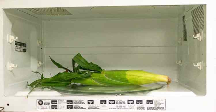 A piece of corn on the cob in the microwave.
