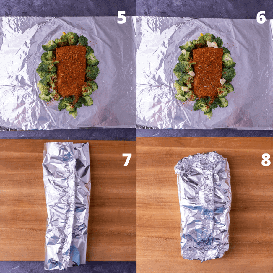 Process shots of how to fold foil packets.