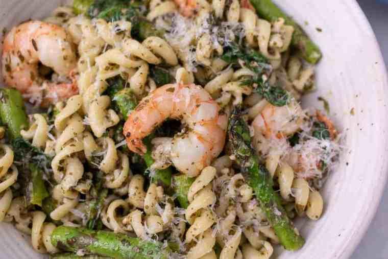 Close up of lemon pesto and shrimp pasta