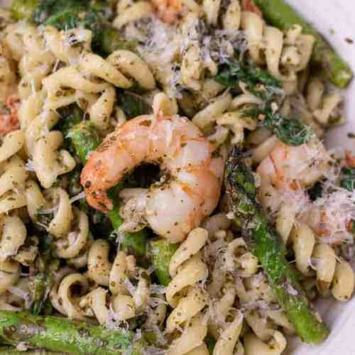 Lemon Pesto Pasta with Shrimp