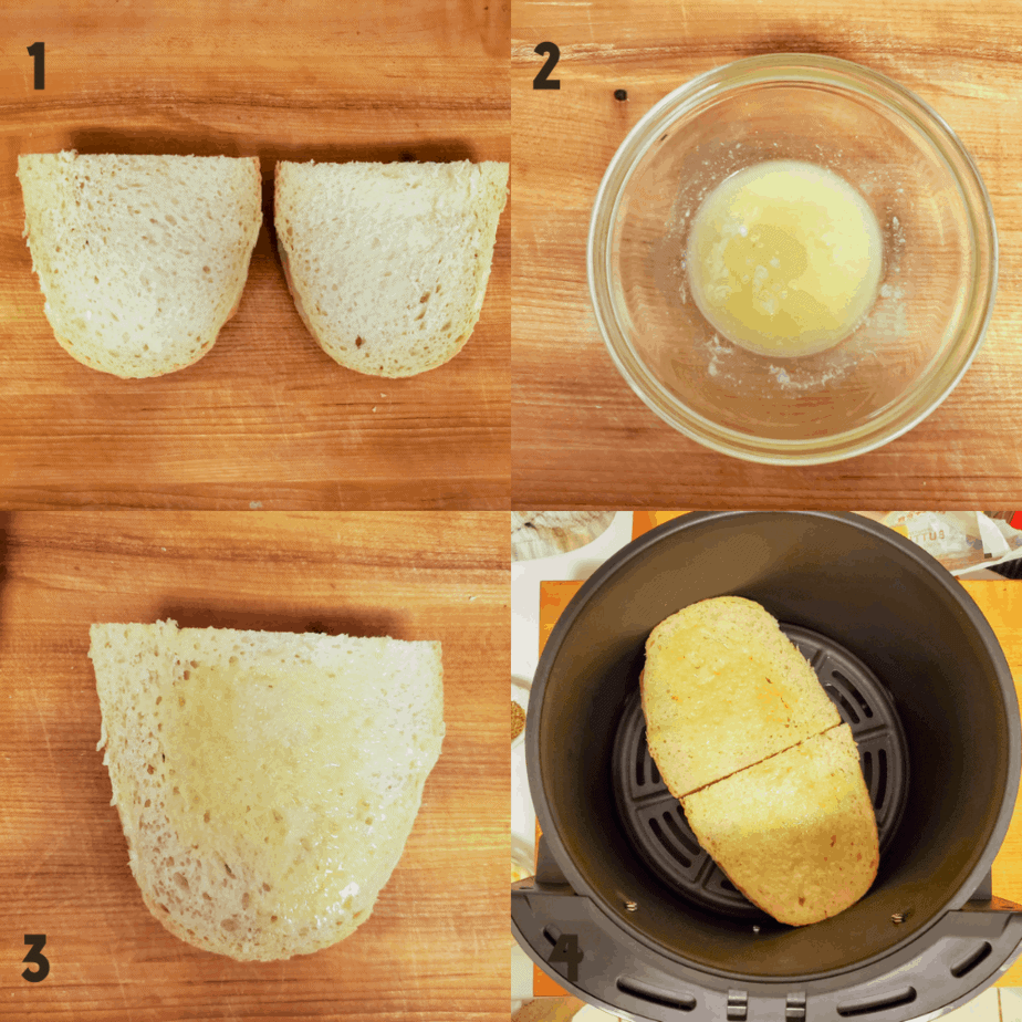 4 Process shots starting with 1) 2 slices of bread cut lengthwise, cut side up, 2) melted butter and garlic paste in a small bowl 3) melted butter spread on 1 piece of garlic bread and 4) 2 pieces of garlic bread with butter in the air fryer.