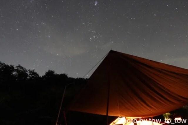 上毛高原キャンプグランド 星空 タープ