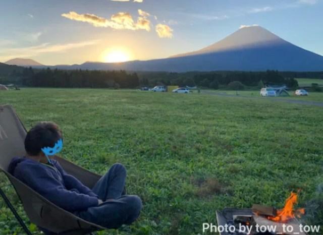 ふもとっぱら 富士山 日の出 焚き火