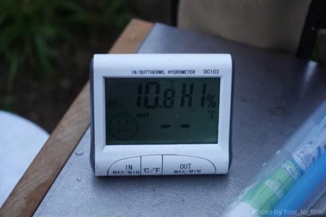 ふもとっぱら ソロキャンプ  10月早朝気温