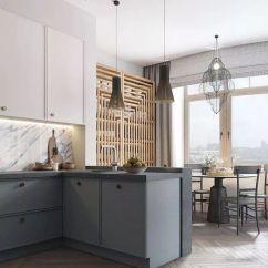 Kitchen Counter Stools Www.kitchen Cabinets 经典灰褐色 泥土中开出的芬芳 留生活一抹诗香 设计师社区 简单家室内 厨房带有台面和后挡板 采用蓝色色调 独特的厨房吊灯悬挂在吧台上方 那是一种扇形的垂饰 而厨房的柜台凳子则是一种简单 不显眼的设计