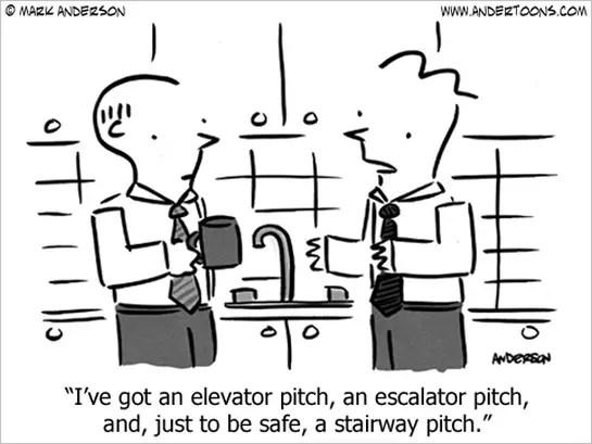 Business Cartoon: Elevator Pitch, Escalator and Stairway