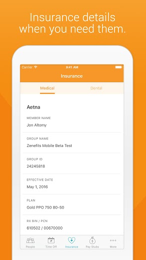Zenefits for Mobile HRMS App - Insurance Tab