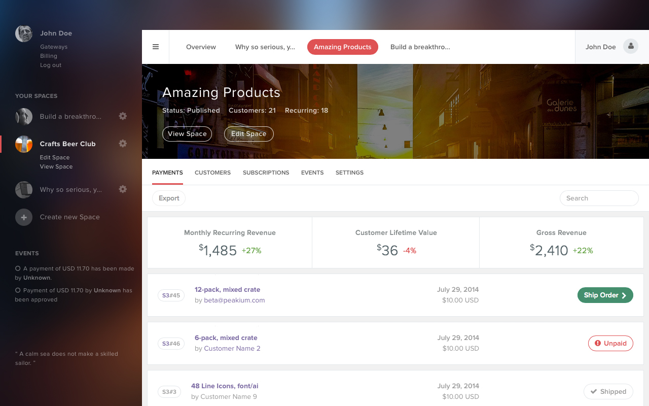 Ecommerce landing page - Transaction Report