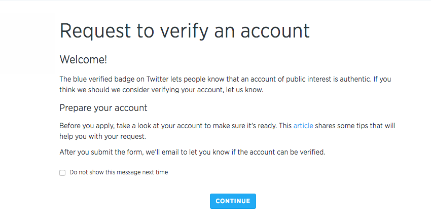 Verified Twitter Account Application Process - Step 1