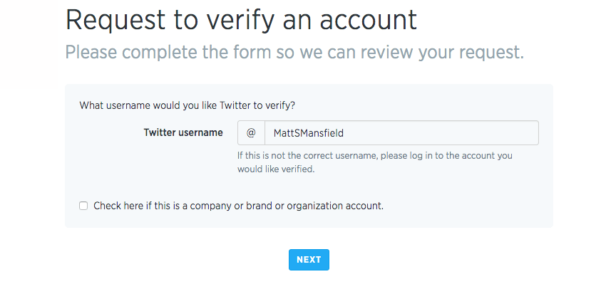Verified Twitter Account Application Process - Step 2