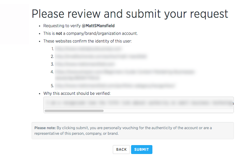 Verified Twitter Account Application Process - Step 5