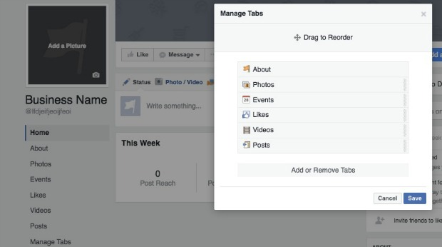 How to Create a Facebook Business Page - Manage Your Tabs